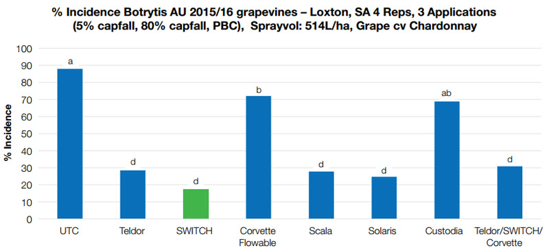 Incidence of Botrytis in grapevines