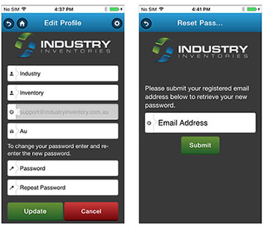 Industry Inventories app screen shots