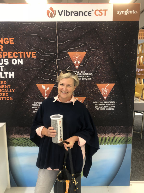 Syngenta asked invited visitors to the 2018 Australian Cotton Conference to guess how many Vibrance CST treated seeds were in the jar for their chance to win a pair of RM Williams boots.