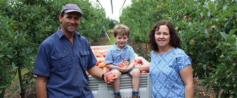 Daniel Nicoletti, pictured with his wife Toni and son, is a third-generation apple producer from Queensland and a Regional Winner in the 2017 Syngenta Growth Awards. The seven Australasian winners will be announced on 30 November 2017.
