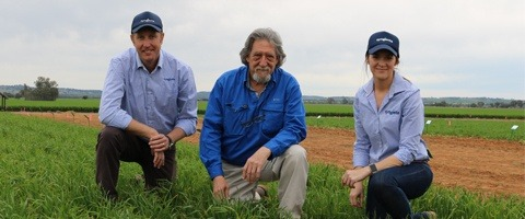 Syngenta Solutions Development Manager, Mr Garth Wickson, Graham Centre researcher Dr William Brown and Syngenta territory sales manager for the Namoi Ms Katie Slade inspect a trial at the Graham Centre Field site.