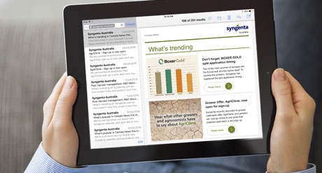Holding on an iPad with Syngenta email