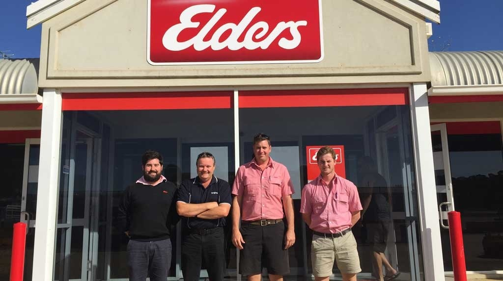 Carl Johnstone (middle right) with his colleagues at Elders Esperance, WA and Syngenta Sales Representative, Brian Staines (middle left).