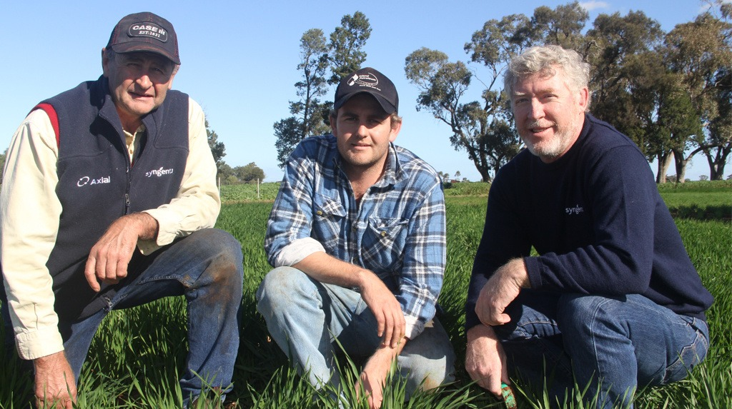 Father & Son, Rob & Tod Montgomery from 'Fairview' Nevertire, are keen to see how the new barley variety, Spartacus CL performs on their property.