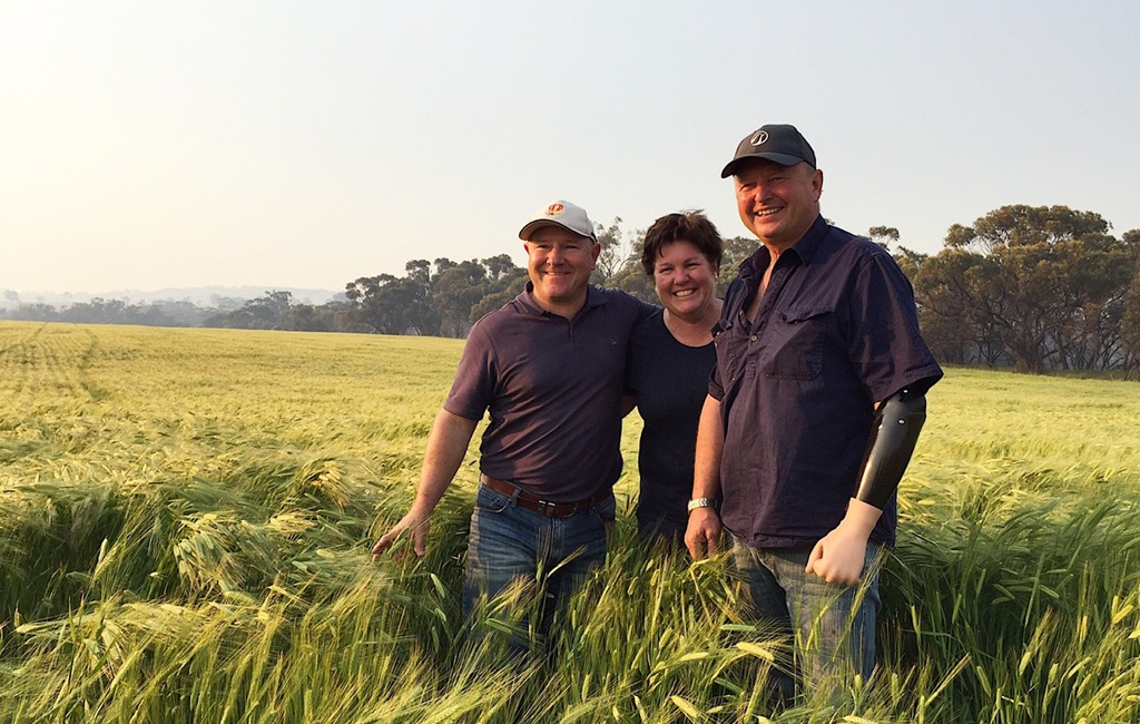 Grower, Kevin Davies, and his adviser, David Stead, in his barley paddock treated with Boxer Gold.